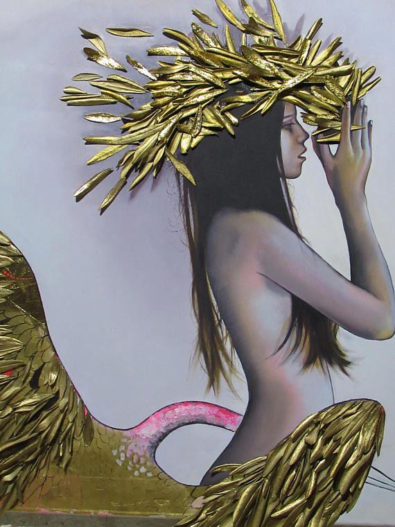 Girl And SwanOriginal Oil PaintingCanvas PaintingMixed