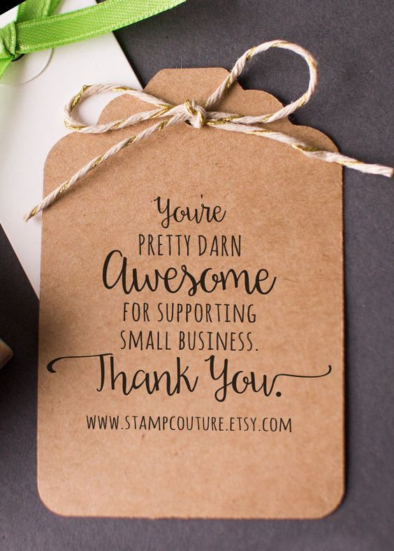 Thank You Stamp with Website Address for Small Business - Custom Rubber Stamp , Etsy Sellers , Shop Owners , Direct Sales: