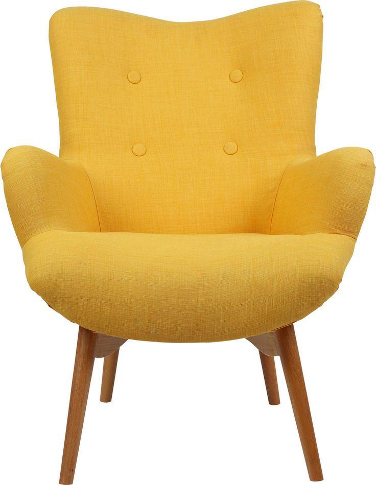 Ohrensessel Gelb Naturfarben Textil Furniture Armchair Wingback Chair
