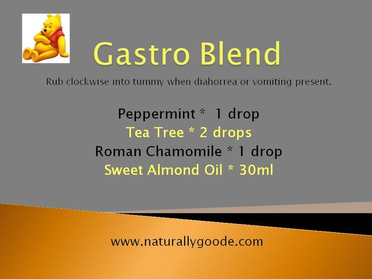 An essential oil blend to help give relief from symptoms of gastro. Mix this blend up and rub into your tummy. #NaturallyGoode #essentialoils