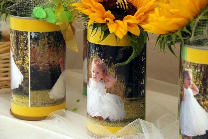 Koffie potten plastificeren met foto.  Zonnebloem in piepschuim.