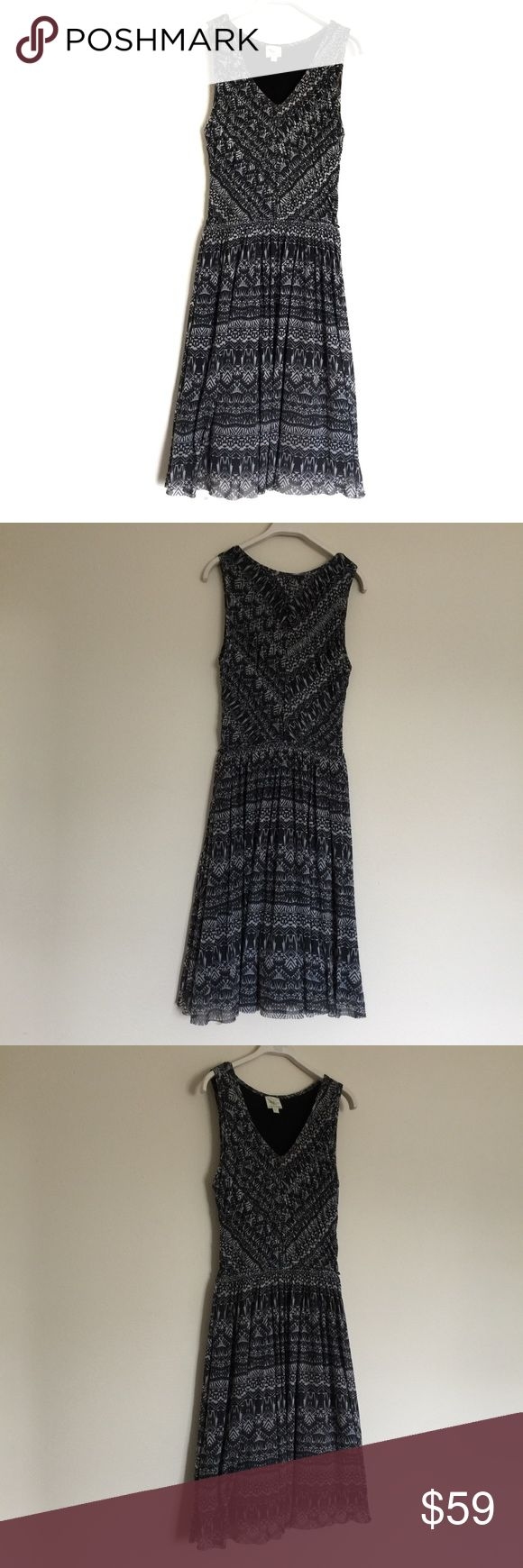 """Weston Wear """"Vera"""" pleated grey pattern dress L Beautiful fit flare dress with pleated skirt detail. Elastic waistband, tulle lined skirt. Ruch bodice and V neck. Pit to pit 18"""", waist 13"""", length 42"""". 100% nylon. Anthropologie Dresses"""