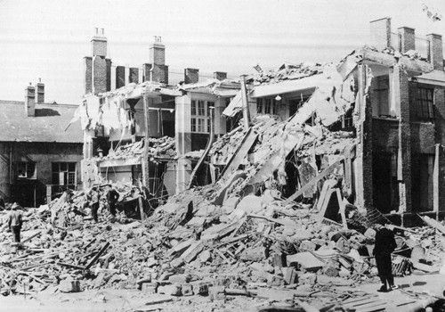 600 people were killed when Hallsville Junior School was bombed in 1940, but the Government gave the death toll as 77. Canning Town, London