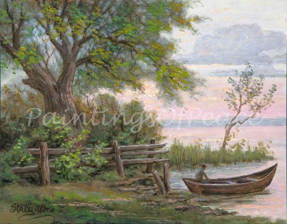 Lake   fisherman  landscape  boat  painting 11 by PaintingsOfPeace, $195.00