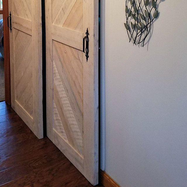 Whitewashed Solid Cypress Sliding Chevron Barn Doors Built To Order In 2020 Barn Door Barn Doors Sliding Sliding French Doors