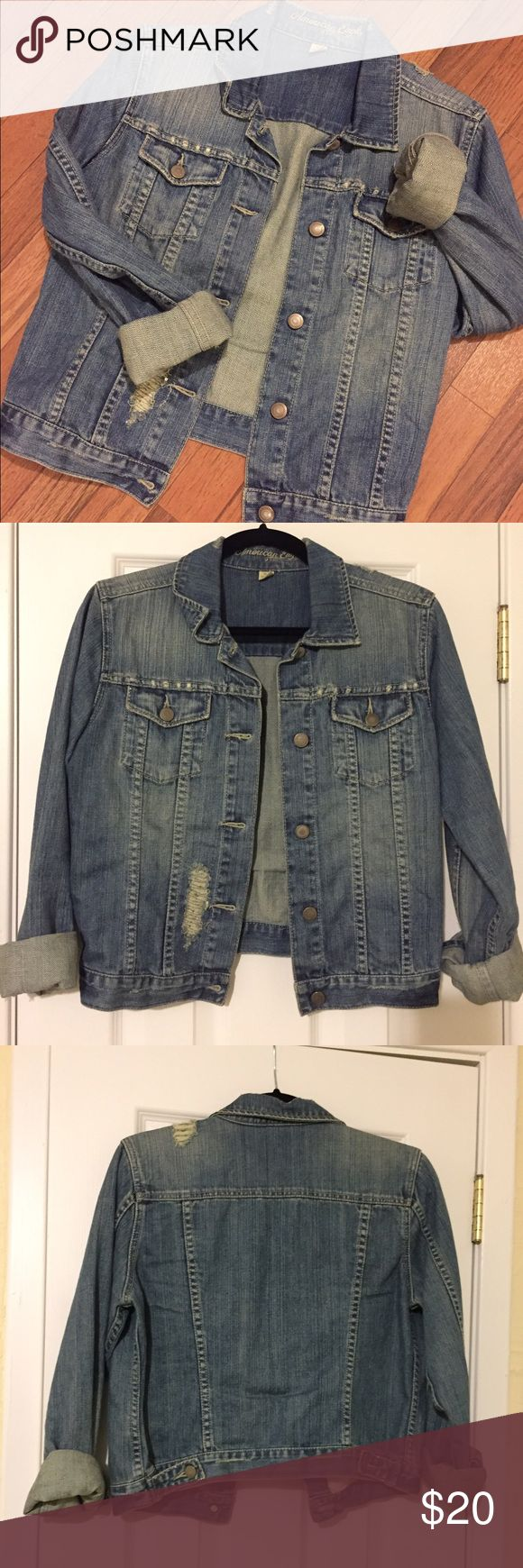 EUC American Eagle Outfitters Jean Jacket Cute distressed jean jacket that has only been worn a few times. It is in great condition--no problems! American Eagle Outfitters Jackets & Coats Jean Jackets