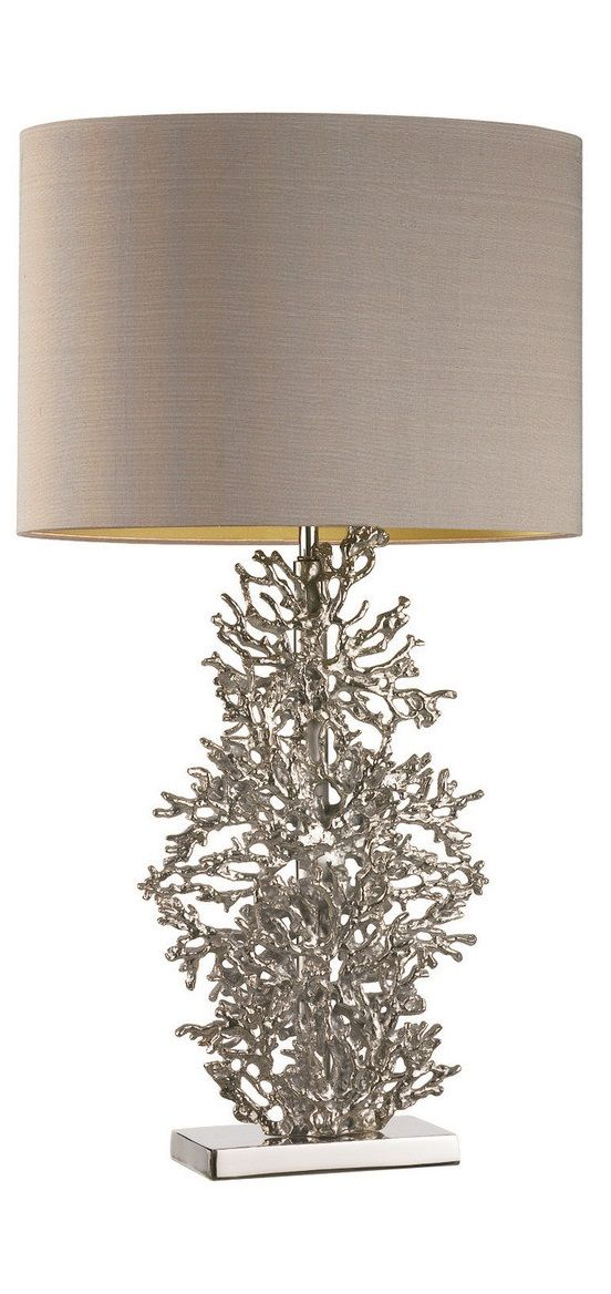 Table Lamps, Designer Silver Cast Coral Lamp, so beautiful, one of over 3,000 limited production interior design inspirations inc, furniture, lighting, mirrors, tabletop accents and gift ideas to enjoy repin and share at InStyle Decor Beverly Hills Hollywood Luxury Home Decor enjoy & happy pinning