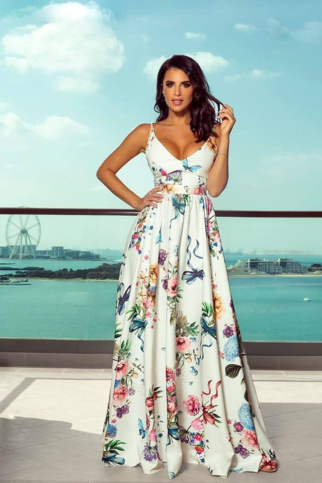 Zachwycajaca Dluga Suknia Gaja Biala W Kwiaty Fashion Dresses Maxi Dress