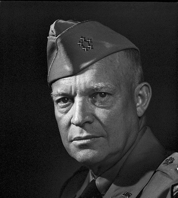 General Dwight D. Eisenhower Eisenhower was the chief general in charge of the US forces during World War II, and later went on to be President. This photo was taken a year after victory over Axis forces in WWII. Karsh would go on to photograph Eisenhower as President and in his retirement, where he delighted in showing Karsh the oil painting that he was working on of Churchill for which he used Karsh's portrait as a source. Date: 1946. Photographer: Yousuf Karsh.