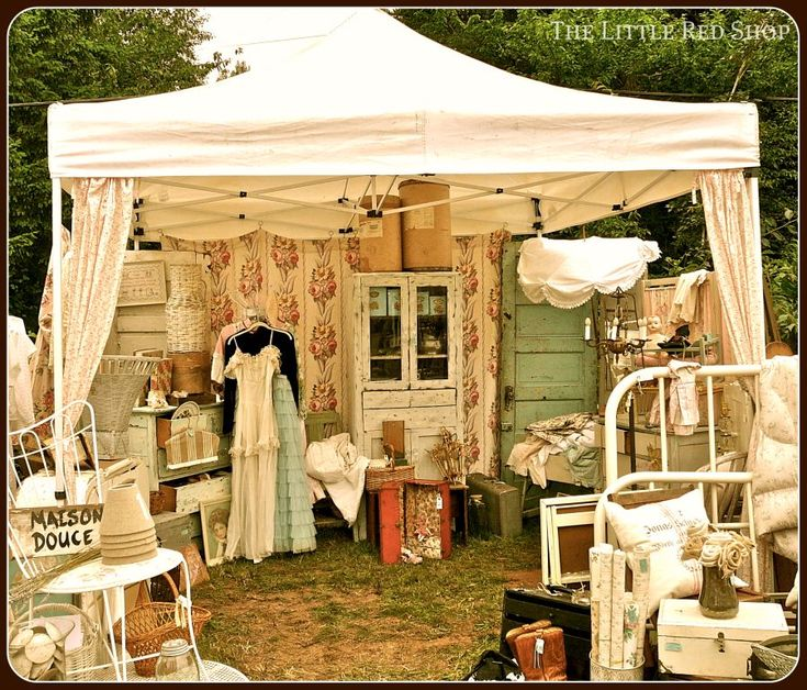 """Is yr #consignment, resale, thrift up agst a major flea market? I'm guessing creating a """"tent"""" display could be easily done with thrifted bed sheets, straw-strewn floor, and an eclectic jumble of irresistible merchandise!"""