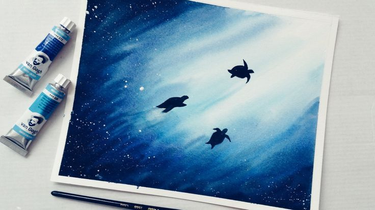 Einfaches Aquarell-Unterwasserszenen-Lernprogramm