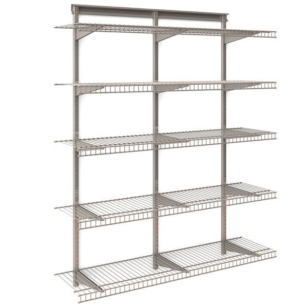 Closetmaid Shelftrack 5 Shelf Nickel Wire Shelving Unit 4ft Wide