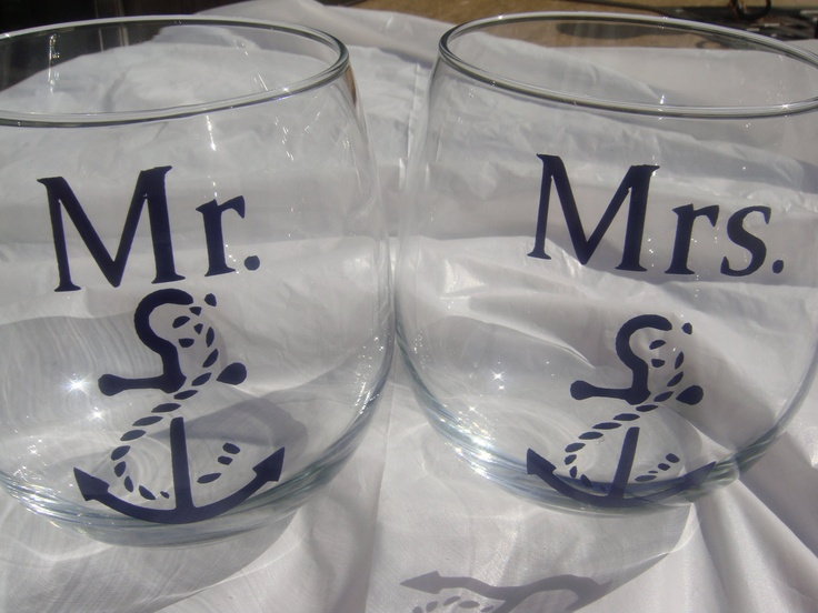 Mr. and Mrs. Boat Anchor Stemless Wine Glassware Set/Engagement or Wedding Gift/Bride and Groom