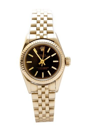 Vintage Rolex Women's Oyster Perpetual Yellow Gold Watch on HauteLook