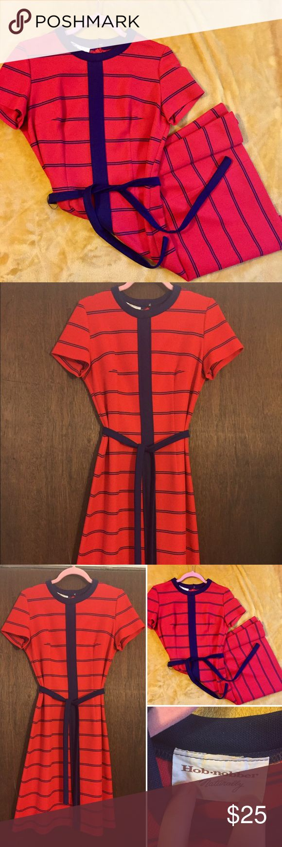"""Vintage amazing red & navy striped dress Vintage amazing red & navy striped dress. This is like a polyester knit, no size label but fits a size 6 nicely. 39"""" length. Excellent condition. Vintage Dresses Midi"""