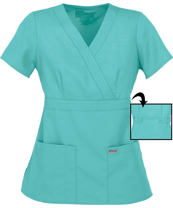 GA4153 Grey's Anatomy Scrubs Junior Fit Mock Wrap Top In Aqua http://www.uniformadvantage.com/pages/prod/591.asp?navbar=11=aqua