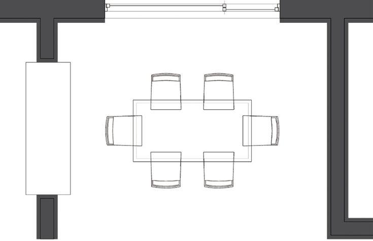 주방 가운데로 식탁 배치  식탁은 주위 동선을 고려하여 위치와 배치 방향을 생각해야 합니다. 식탁의 위치를 벽쪽에 두면 동선이 줄어들기 때문에 주방을 좀 더 넓게 사용할 수 있지만 둘러앉는 인원 수가 한정적이므로 어느 곳에 두느냐에 따라 공간을 다르게 활용할 수 있습니다. 한편 식탁의 위치를 주방 가운데로 이동하면 사람들은 식탁의 모든 면에 둘러앉을 수 있지만 식탁 주위를 이용해 동선을 설계해야 하므로 더 넓은 공간이 필요합니다. 서양에서는 이러한 식탁 배치를 자주 접할 수 있습니다. 식탁 방향에 따른 공간 확보는 식탁 형태에 따라서도 달라집니다. 식탁의 모든 면이 일정한 정사각형의 경우에는 크게 상관없지만 한쪽 면이 더 긴 직사각형의 경우에는 식당 방향에 맞춰 배치해야만 더 넓은 공간을 사용할 수 있습니다.