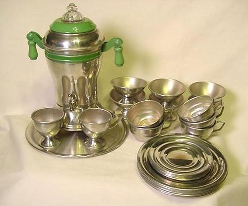 Vintage Child's Toy Dishes Aluminum Jadite Coffee Tea Set Tin Metal Ware   eBay