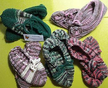 Sapatilhas de lã em tricô