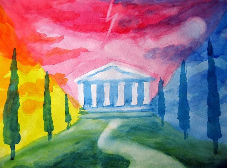Waldorf ~ 5th grade ~ Ancient Greece ~ watercolor painting