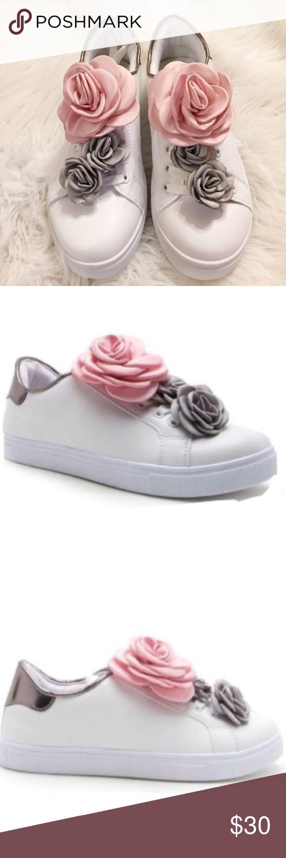 "Women's pink gray and silver floral sneakers These are beyond cute. White sneakers with pink and gray removable flowers and silver detailing. Padded sole approx 1.25"" heel height. New in box. See last pic for a few marks that I'm not sure what they are and have not tried to spot clean. They are on the inner part of the right shoe. Price has been adjusted✂️ Shoes Sneakers"