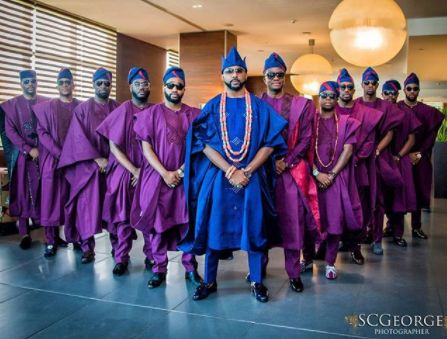 Photos: BankyW and his groomsmen step out for his traditional wedding today
