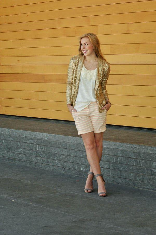 sequin blazer and peach shorts