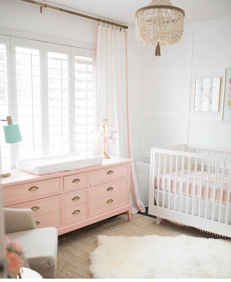 Lovely Girl Room With A Vintage Accent. Love The Pink Dresser And The White  Walls