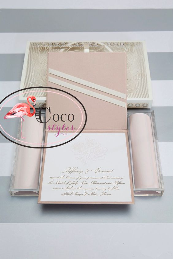 Роскошные акриловая коробка для роскошные свадебные приглашения