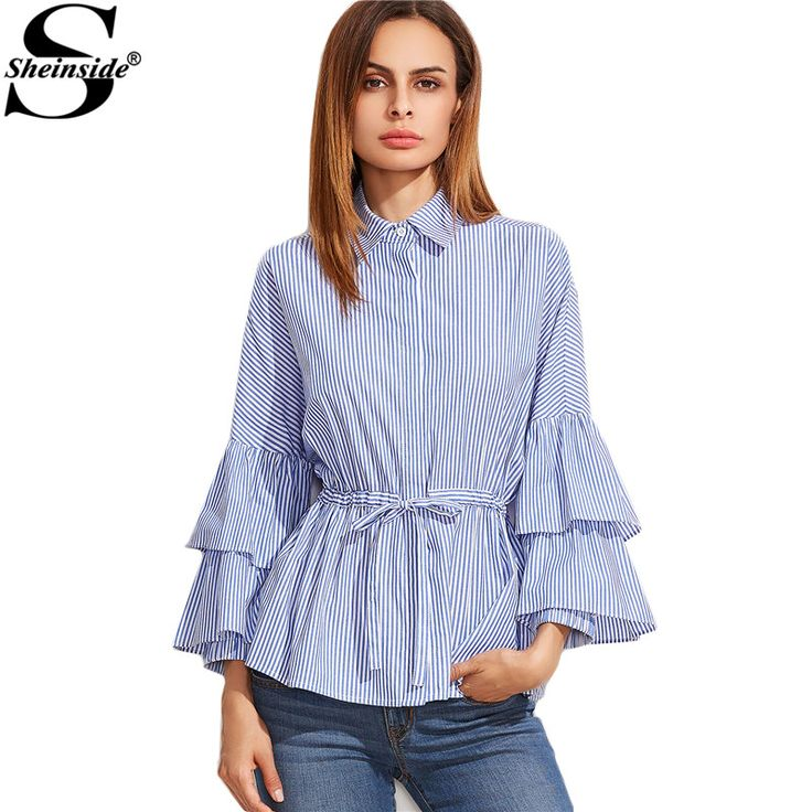 Sheinside Latest Top Designs Fashion Blouses Women Blue And White Striped Layered Long Sleeve Drawstring Waist Blouse