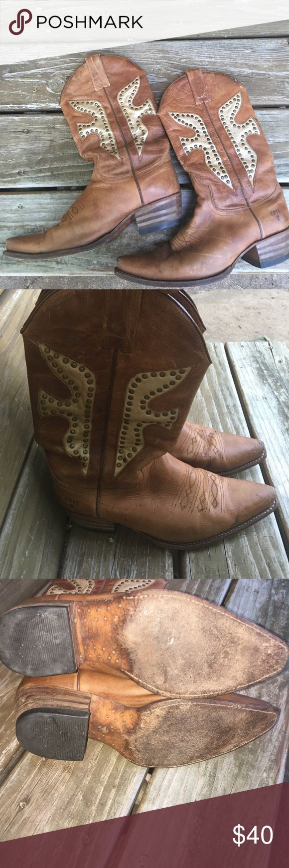 FRYE Cowboy Boots Used boots, but still a lot of life left in them. The toes have some scuff marks(see pictures) and there are a few other spots on them. I don't have any products available to clean and polish them. But, I think they could look close to new with some love. Frye Shoes Heeled Boots