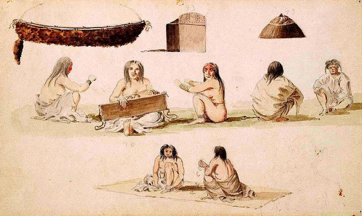 Studio su Figure e Cultura Materiale. Questo acquarello illustra diversi motivi della cultura dei Coast Salish. Un cesto di vimini ornato con pelliccia di lontra marina, una scatola di legno per contenere attrezzi; un berretto di vimini. Le figure umane sono intente a chiacchierare, una donna cura un bambino in una culla di legno e due persone giocano con dei dadi di osso.