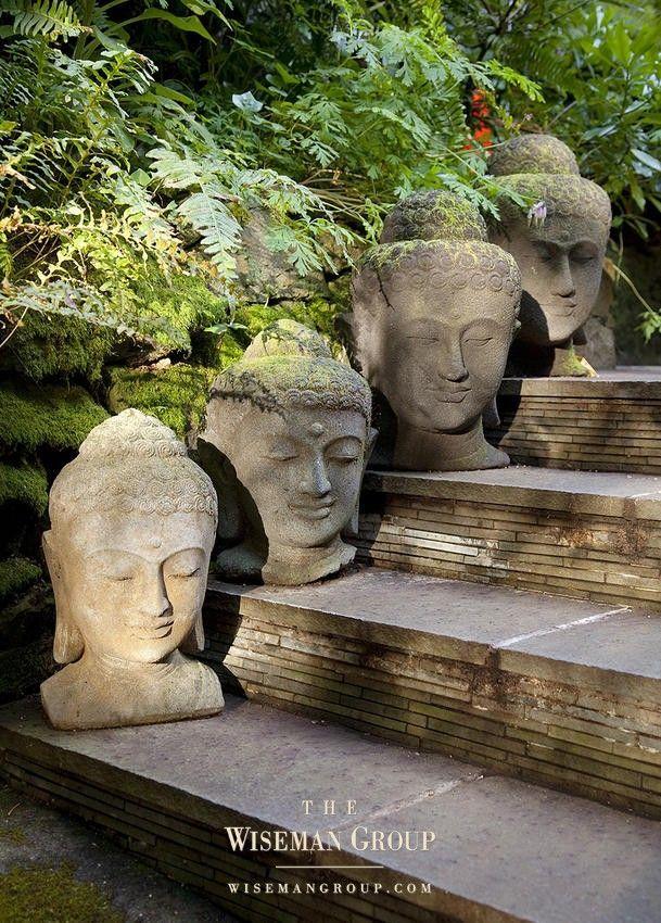 Asian Garden Design stone buddha heads on each stepwhat an interesting garden element Stone Buddha Heads On Each Stepwhat An Interesting Garden Element