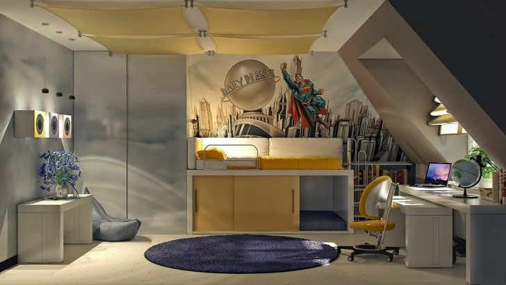 Kid Room, Yellow Office Swivel Chair Twin Bed With Sliding Door White Desk Dark Blue Round Fur Rug Wall Clock With Light Flower Vase Table Gray Beanbag And Cream Wooden Floor Tile ~ Playful Kid Room Color Schemes Enlivening a Childish Interior Comfort