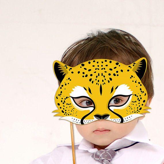 Cheetah mask printable jaguar leopard animal masks for Cheetah face mask template