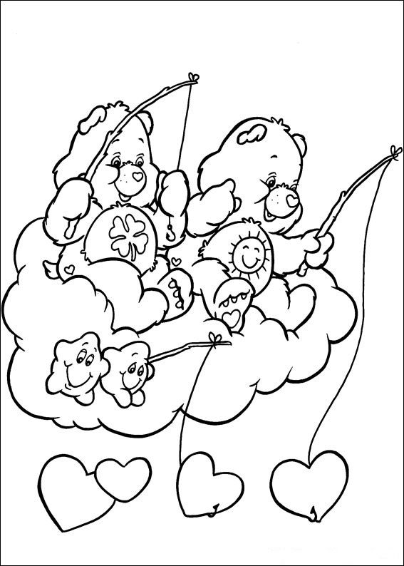 Care Bears Fishing From Above The Clouds Coloring SheetsAdult