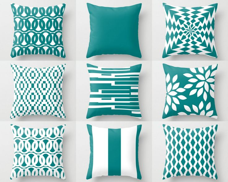 Throw Pillows, Decorative Pillows, Teal Pillow Covers, Euro Sham Cover, Pillow Cases, Cushion Cover, Home Decor Decorative Pillows