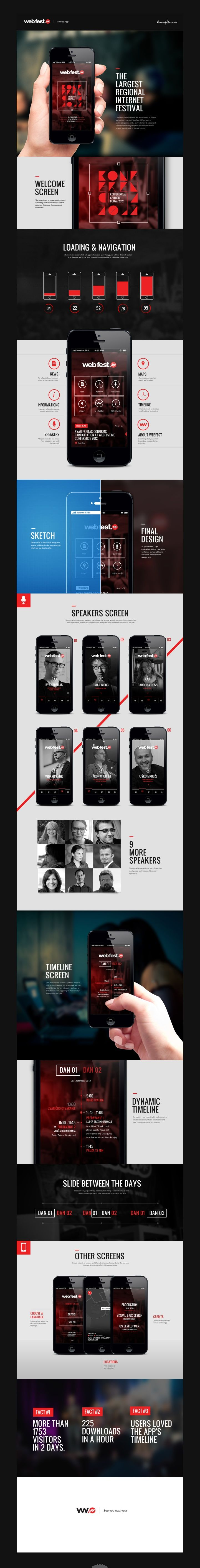 WebFest - iPhone App by Nemanja Ivanovic, via Behance *** Web Fest .ME Conference is not just the conference organized by the web people for the web people. It is the gathering of all those who want to experience inexhaustible energy behind running a startup, learn more about the recent developments in online marketing and web-based businesses and ultimately about using tech to take each and every aspect of their everyday lives to the next level.
