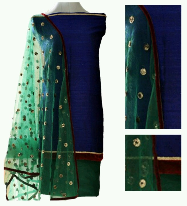 Midnight blue raw silk Myrta material with green salwar