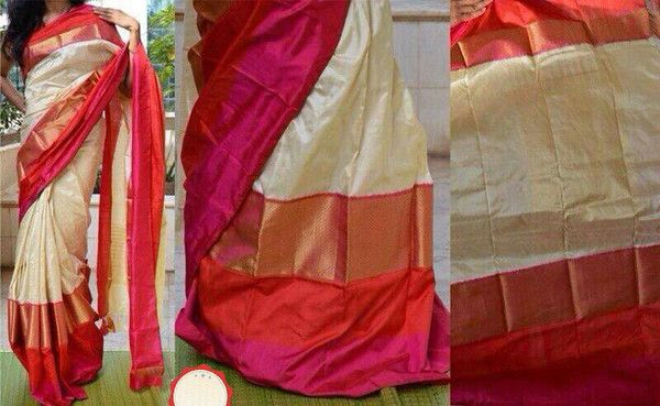 Off white pink and red Ikkat with big border. Comes with an attached blouse. Measurements:Saree : Length - 5.5mtr, Width - 45.5in, Blouse Material : Length - 30
