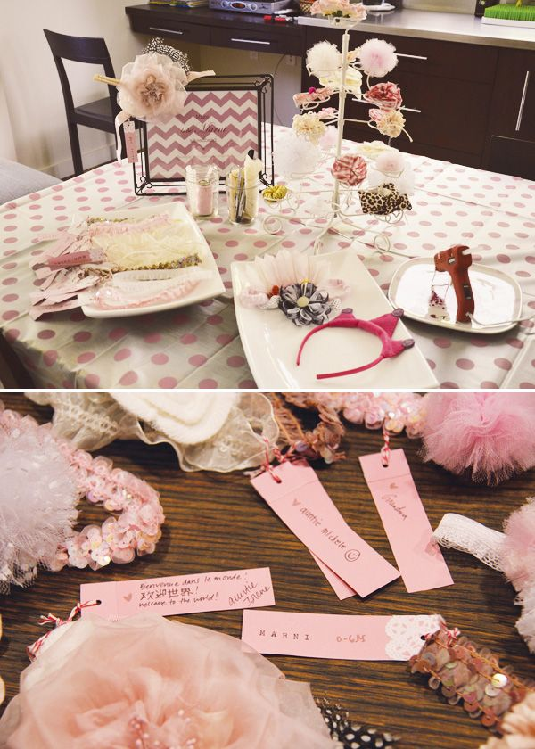 {French Inspired} Pink Baby Shower // Hostess with the Mostess® | make a baby headband station