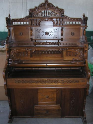 Antique Solid Walnut Pump Organ Converted To A Hutch And