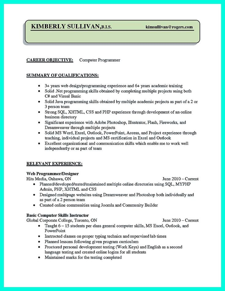 awesome Computer Programmer Resume Examples to Impress Employers, Check more at http://snefci.org/computer-programmer-resume-examples-impress-employers