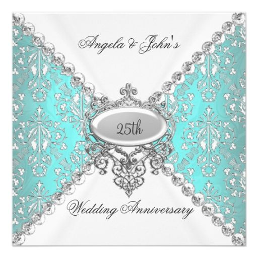 645 best 40th anniversary party invitations images on pinterest elegant teal blue white 25th wedding anniversary invitation stopboris Gallery