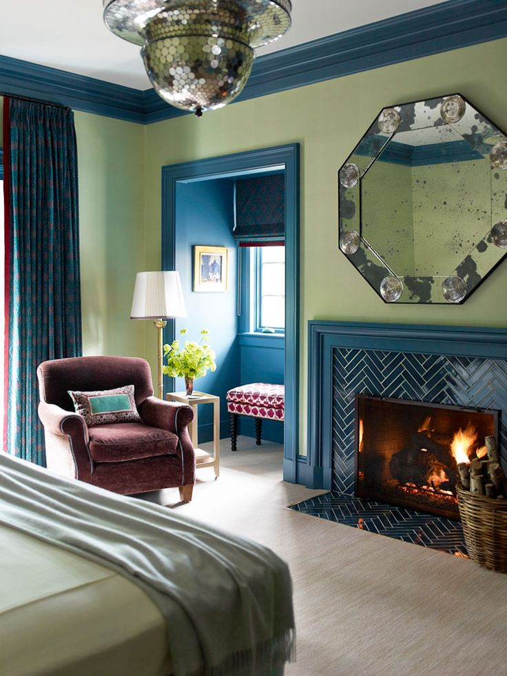 Fireplace Tile Is Magnificent Plus Pops Of Color And The Blue Look Great Together Could