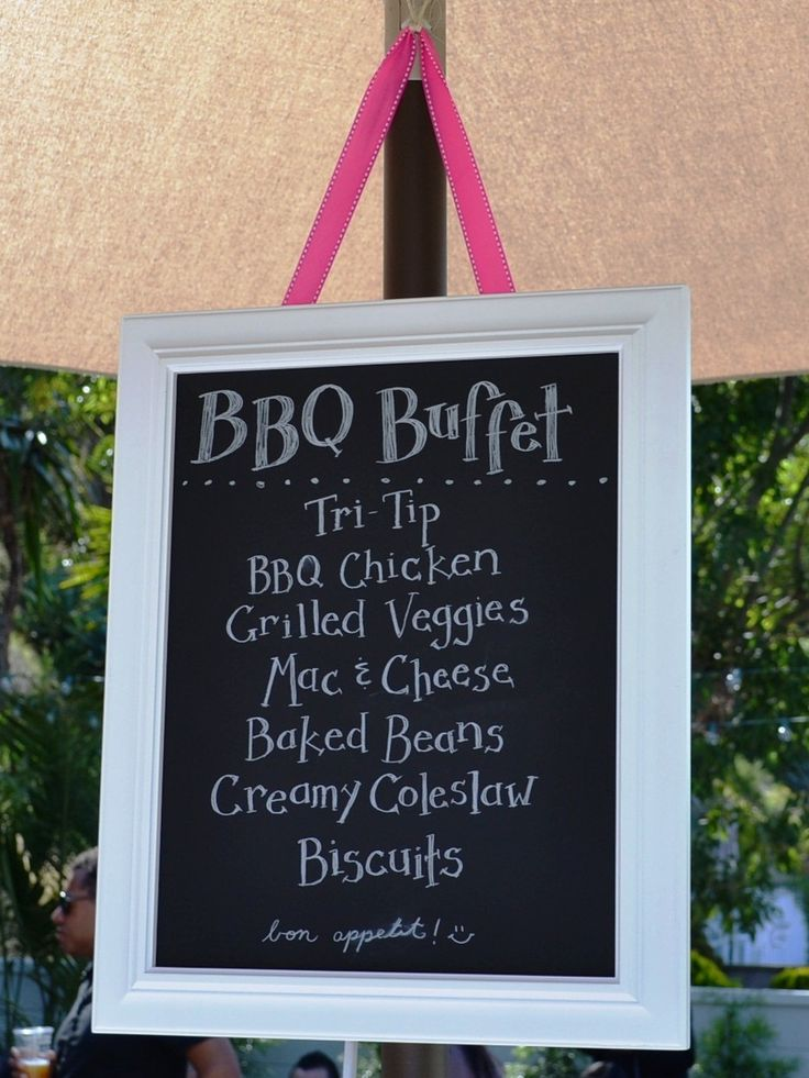 Great idea for outdoor cookout; hang or place at front of buffet table or tables so guests know the menu.