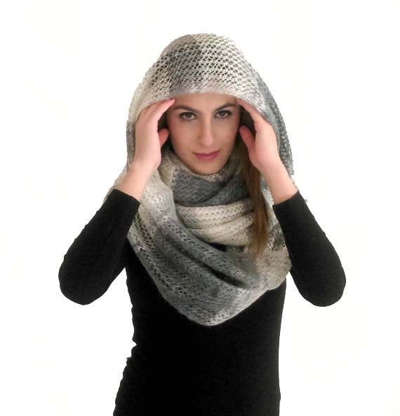 Hey, I found this really awesome Etsy listing at https://www.etsy.com/listing/481779706/extra-long-infinity-poncho-gray-hooded