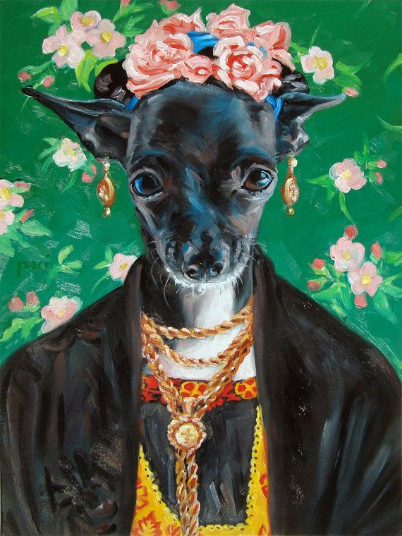 Chihuahua as Frida Kahlo CUSTOM Pet Portrait by puciPetPortraits, $287.00