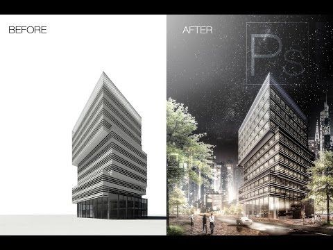 Night building in photoshop tutorial | ARCH-student.com