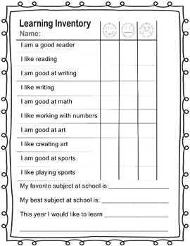 Learning inventory for back to school - great tool for teachers to see student's attitudes about learning!